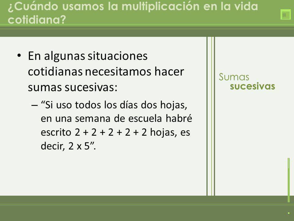 ¿Cuándo usamos la multiplicación en la vida cotidiana