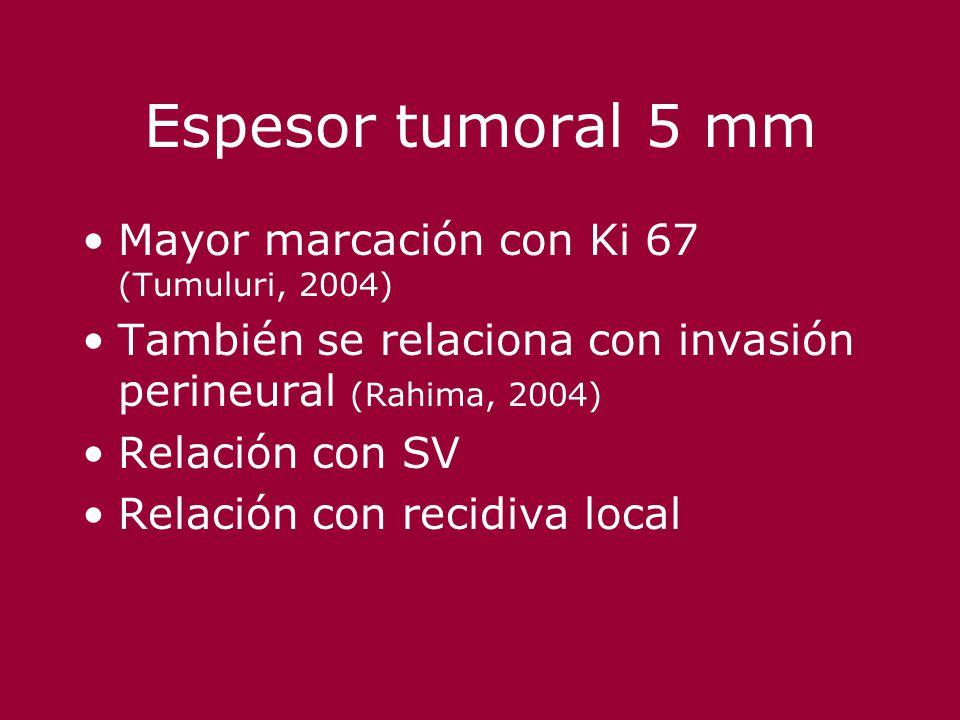 Espesor tumoral 5 mm Mayor marcación con Ki 67 (Tumuluri, 2004)