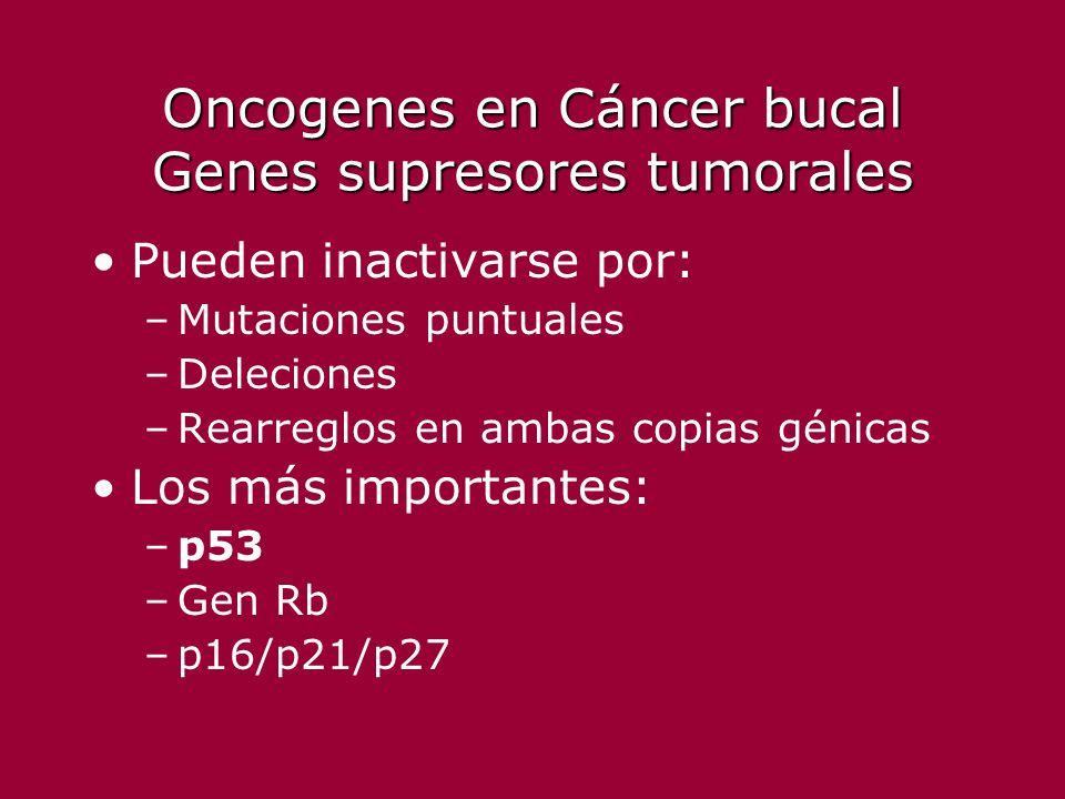 Oncogenes en Cáncer bucal Genes supresores tumorales