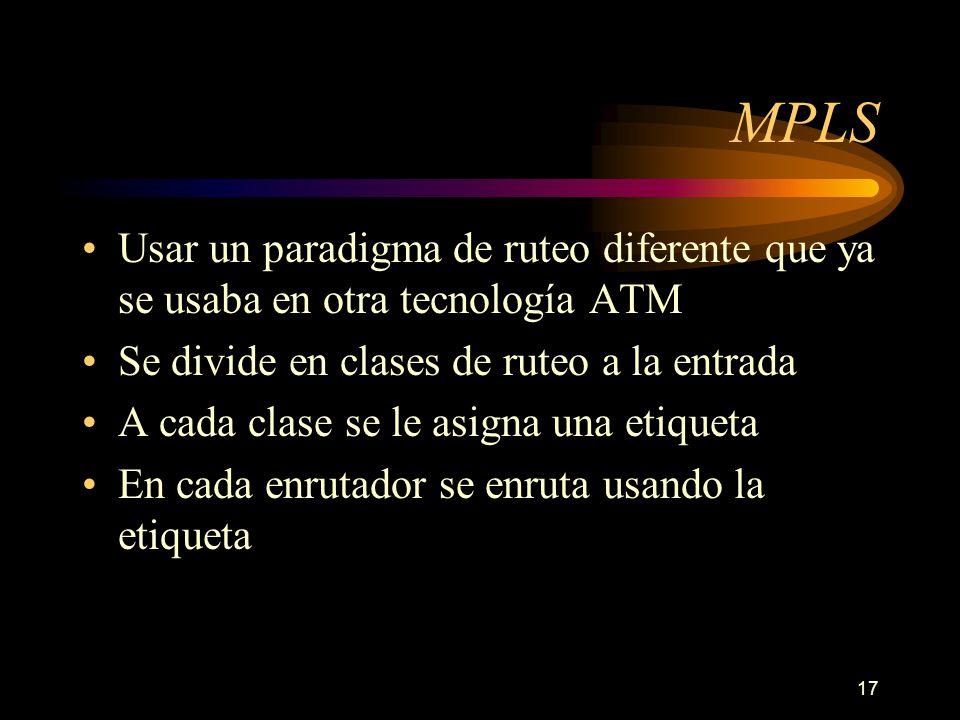 MPLS Usar un paradigma de ruteo diferente que ya se usaba en otra tecnología ATM. Se divide en clases de ruteo a la entrada.