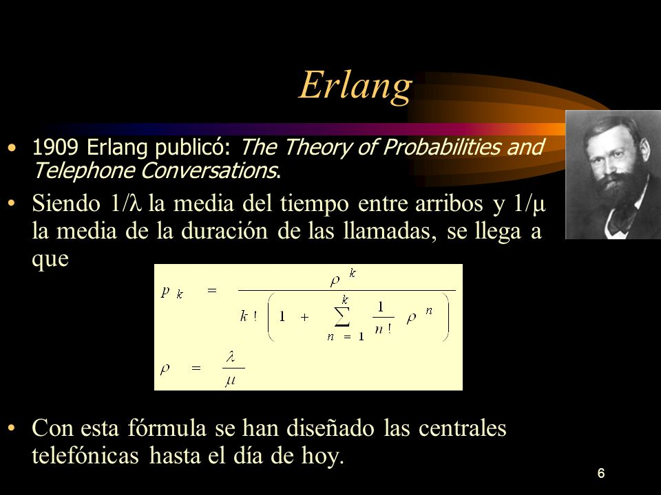 Erlang 1909 Erlang publicó: The Theory of Probabilities and Telephone Conversations.