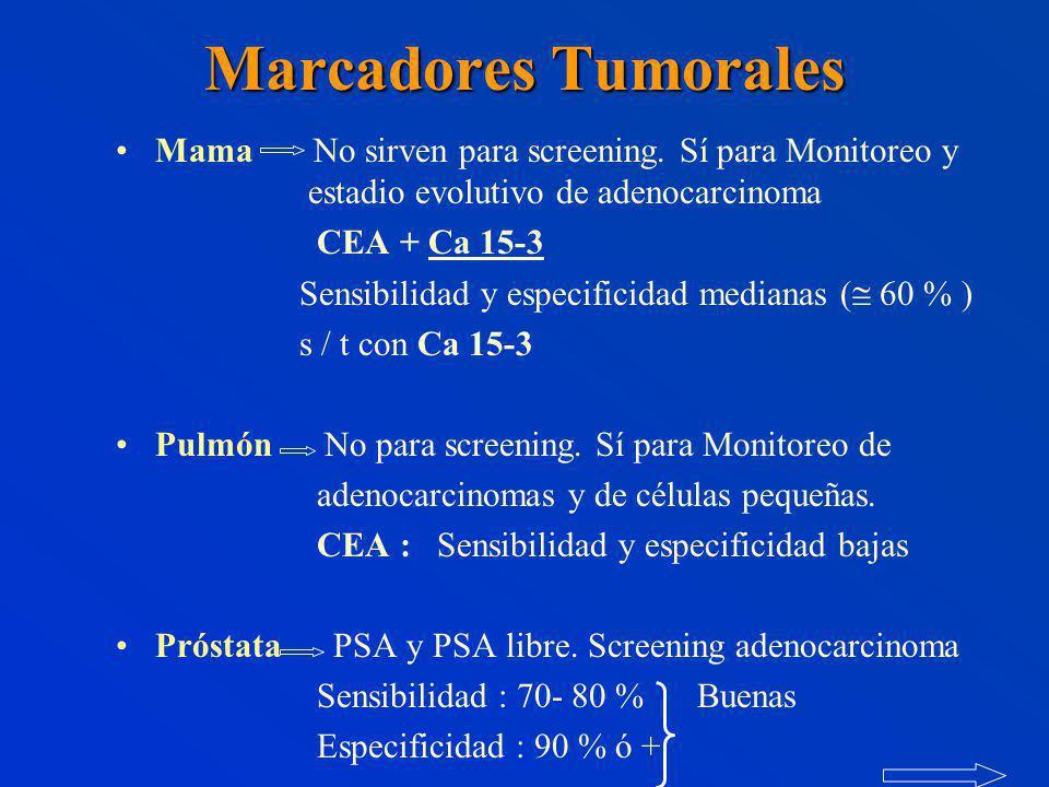Marcadores Tumorales Mama No sirven para screening. Sí para Monitoreo y estadio evolutivo de adenocarcinoma.