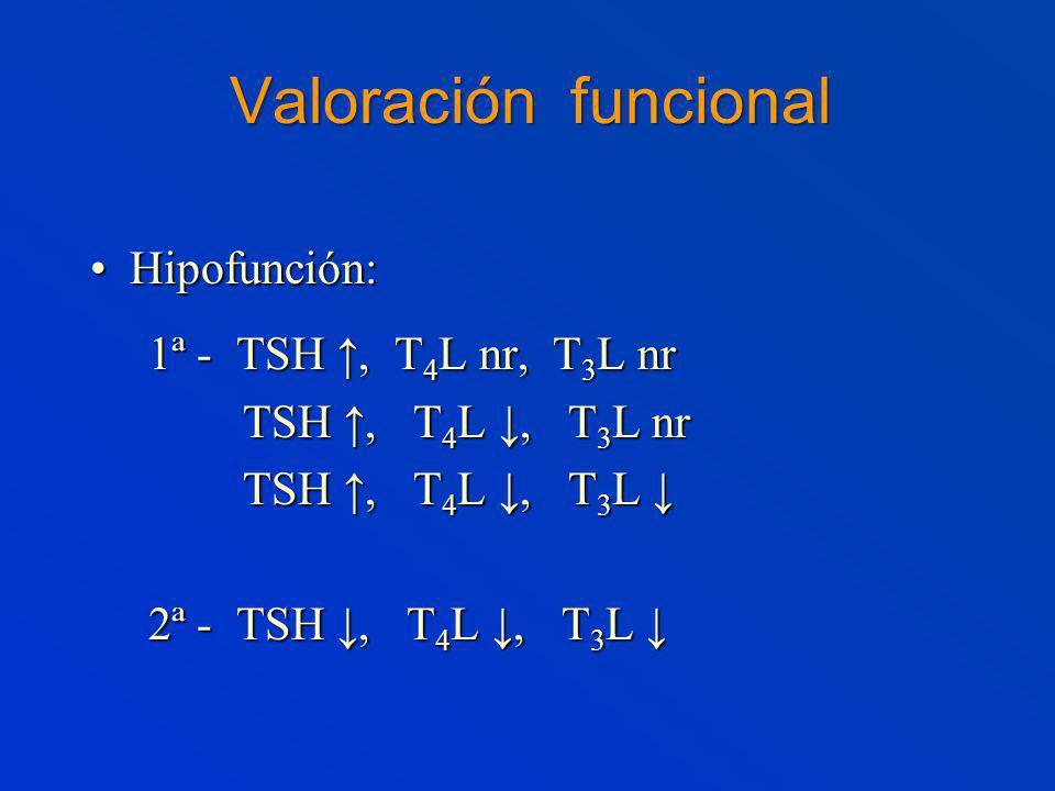 Valoración funcional Hipofunción: 1ª - TSH ↑, T4L nr, T3L nr