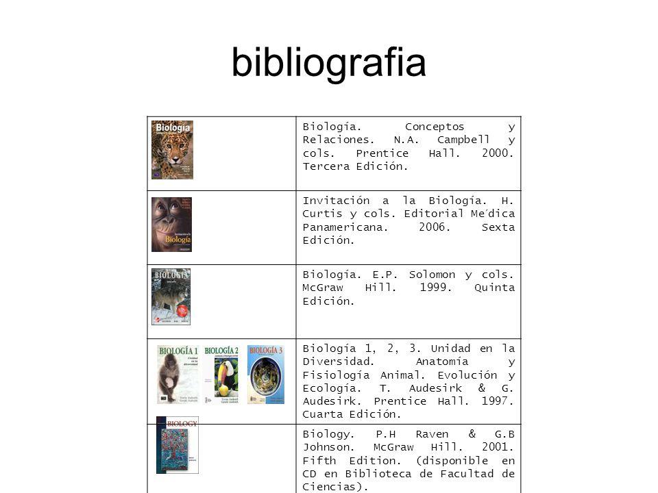 bibliografia Biología. Conceptos y Relaciones. N.A. Campbell y cols. Prentice Hall. 2000. Tercera Edición.