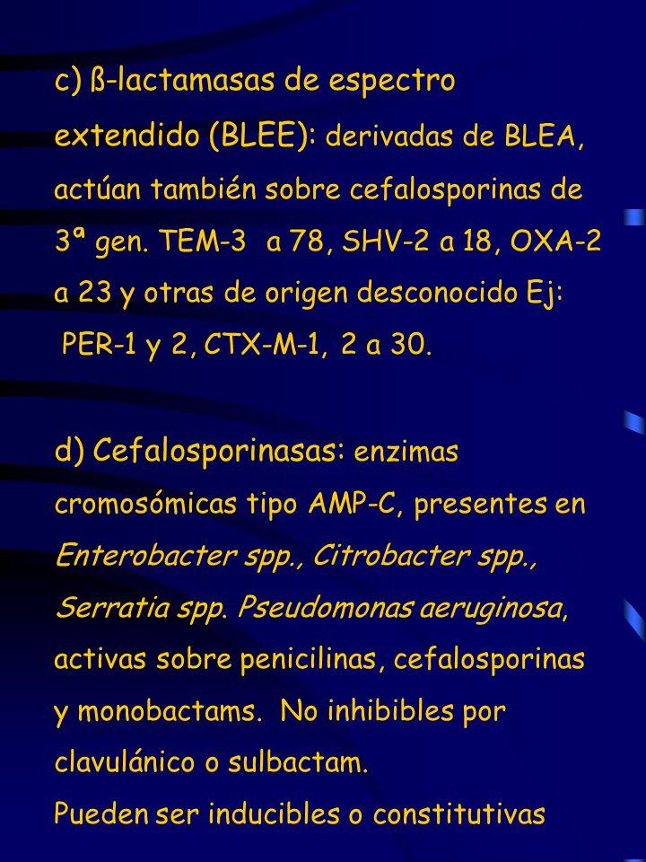 c) ß-lactamasas de espectro extendido (BLEE): derivadas de BLEA, actúan también sobre cefalosporinas de 3ª gen. TEM-3 a 78, SHV-2 a 18, OXA-2 a 23 y otras de origen desconocido Ej:
