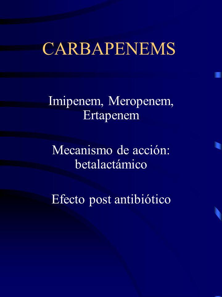 CARBAPENEMS Imipenem, Meropenem, Ertapenem
