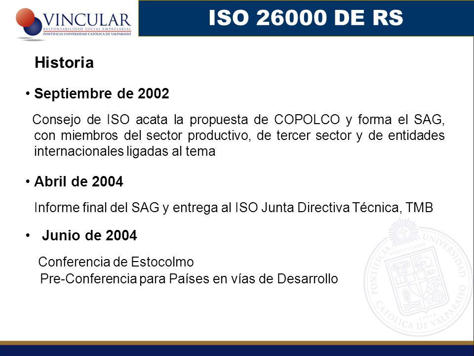 ISO 26000 DE RS Conferencia de Estocolmo Historia Septiembre de 2002