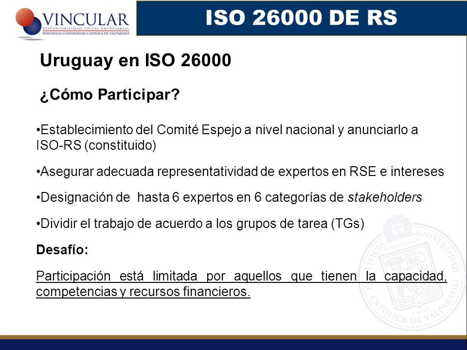 ISO 26000 DE RS Uruguay en ISO 26000 ¿Cómo Participar