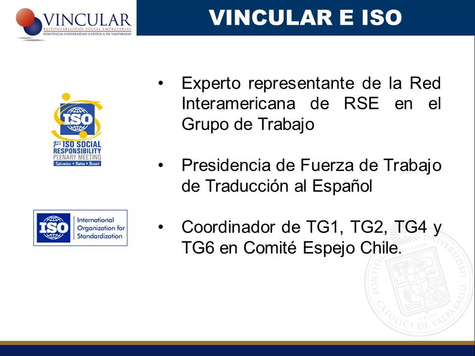 VINCULAR E ISO Experto representante de la Red Interamericana de RSE en el Grupo de Trabajo.