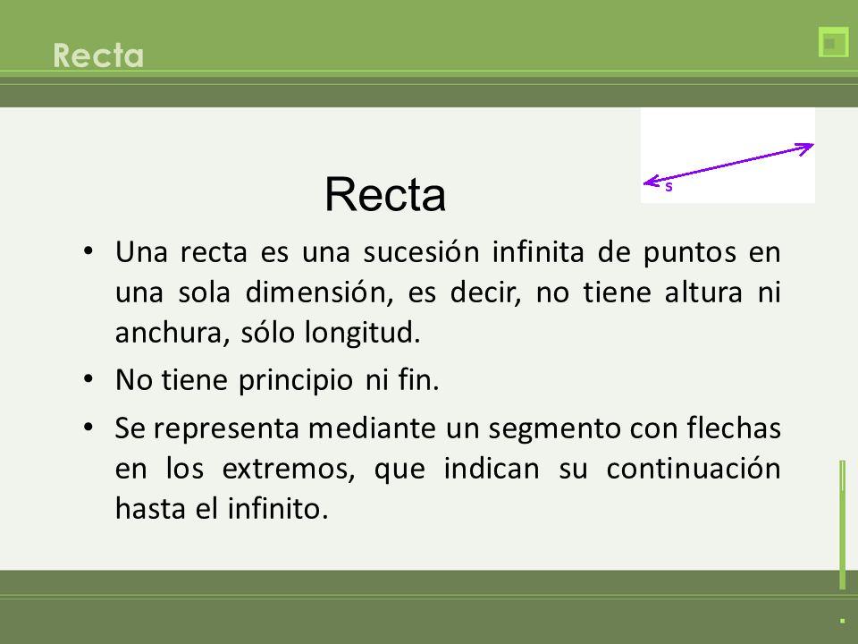RectaRecta. Una recta es una sucesión infinita de puntos en una sola dimensión, es decir, no tiene altura ni anchura, sólo longitud.