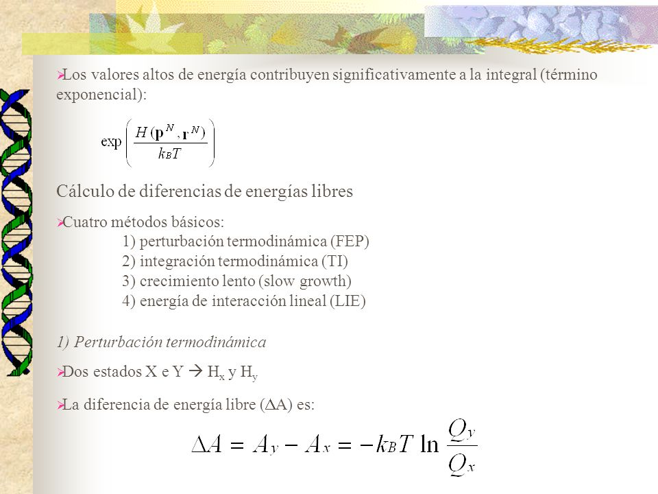Cálculo de diferencias de energías libres