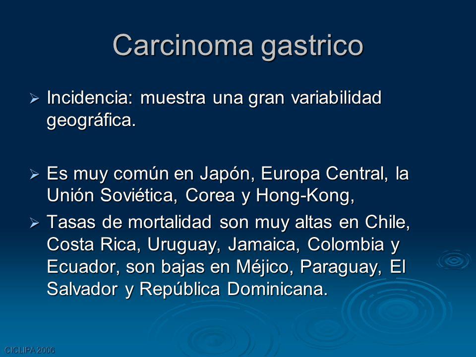 Carcinoma gastrico Incidencia: muestra una gran variabilidad geográfica.