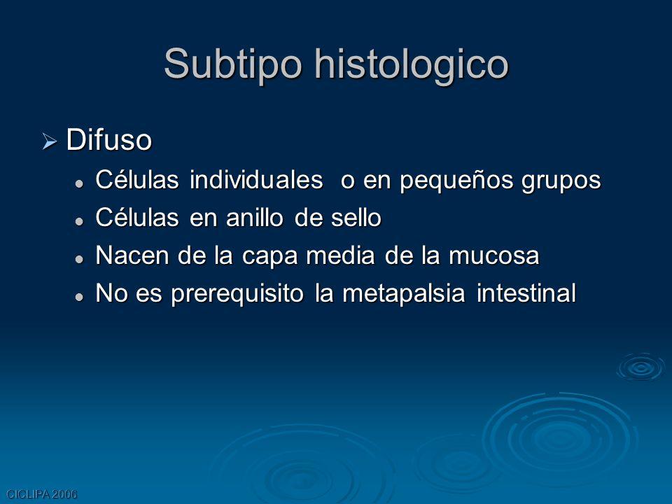 Subtipo histologico Difuso Células individuales o en pequeños grupos