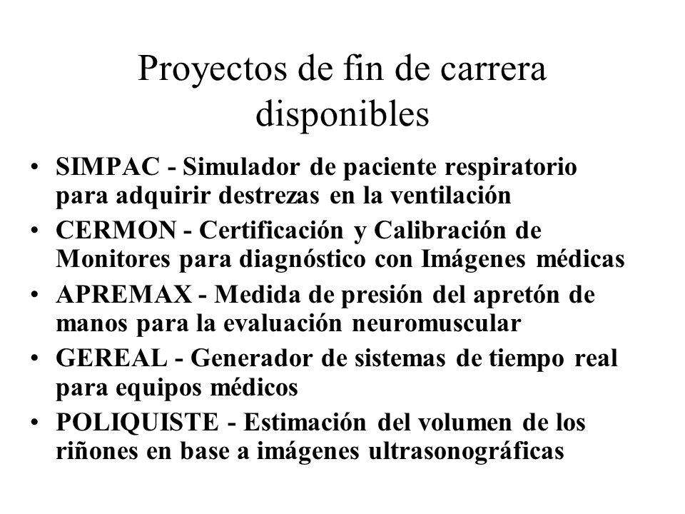 Proyectos de fin de carrera disponibles