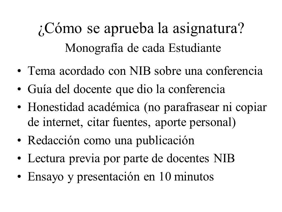 ¿Cómo se aprueba la asignatura Monografía de cada Estudiante