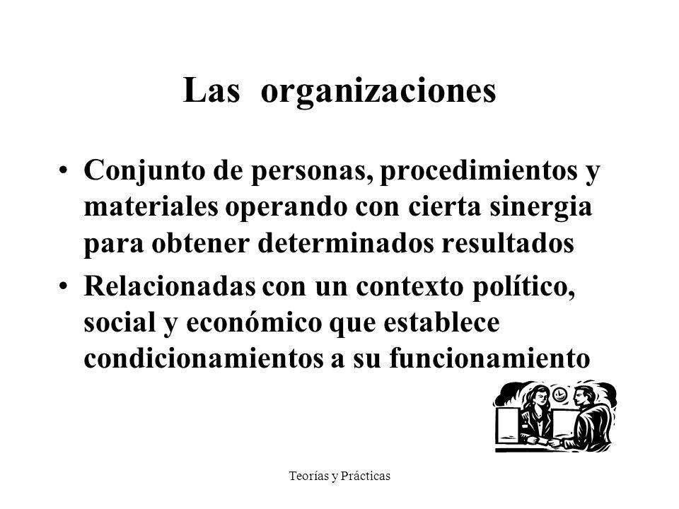 Las organizaciones Conjunto de personas, procedimientos y materiales operando con cierta sinergia para obtener determinados resultados.