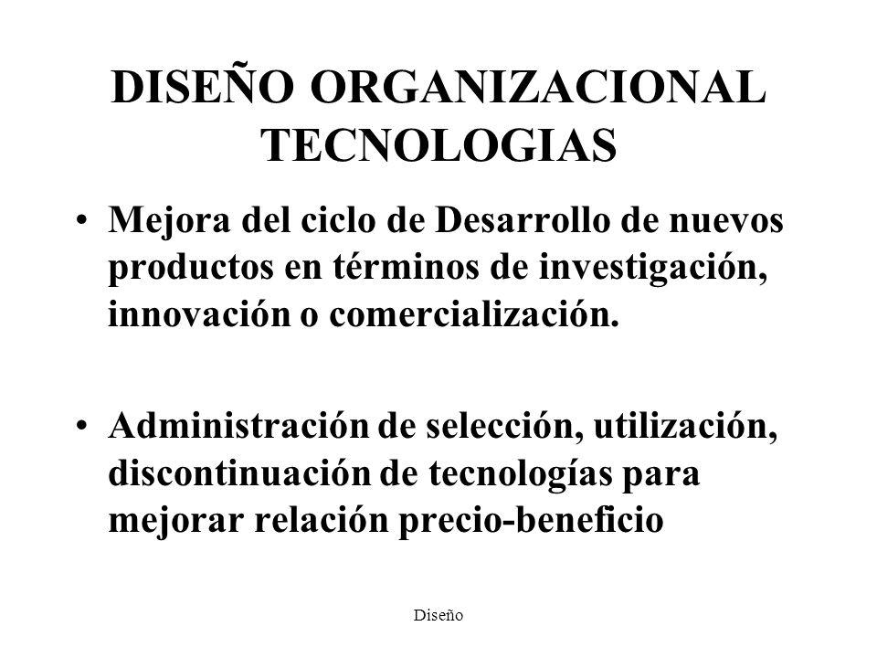 DISEÑO ORGANIZACIONAL TECNOLOGIAS