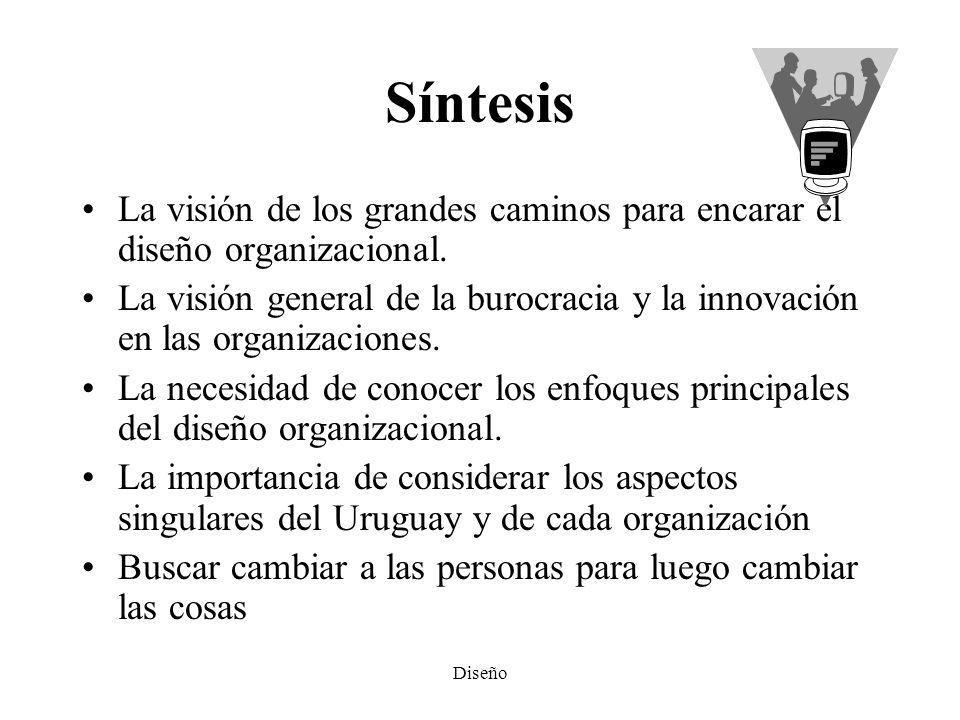 Síntesis La visión de los grandes caminos para encarar el diseño organizacional.