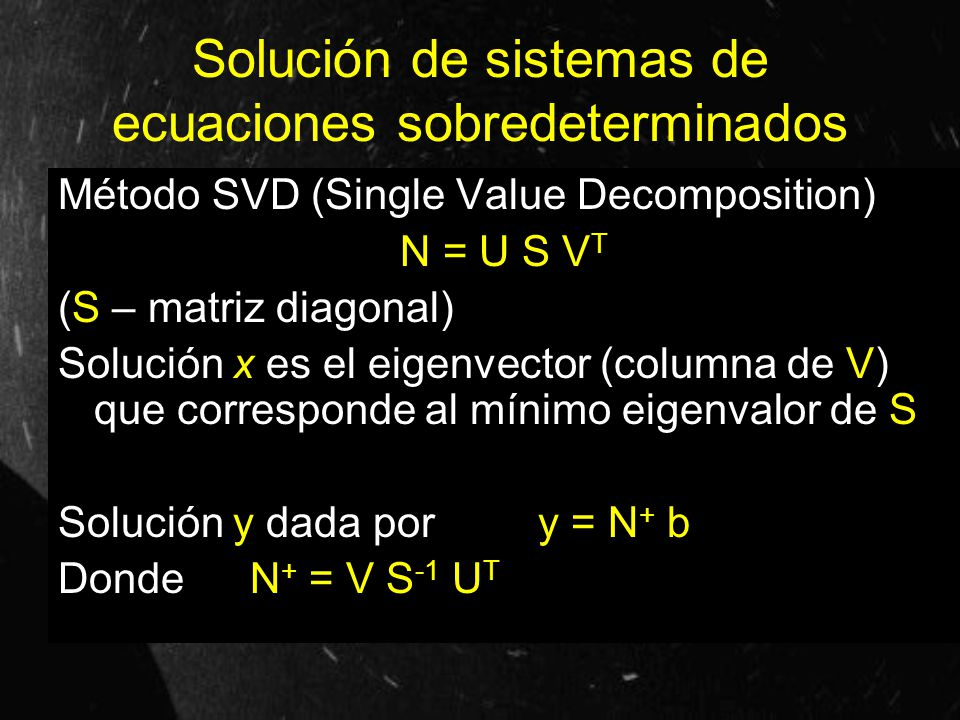 Solución de sistemas de ecuaciones sobredeterminados