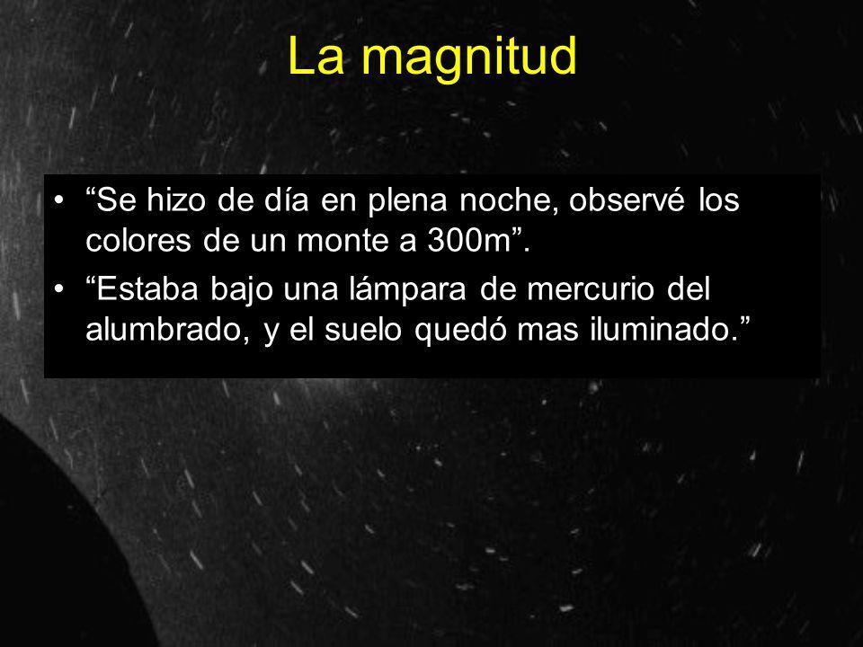 La magnitud Se hizo de día en plena noche, observé los colores de un monte a 300m .