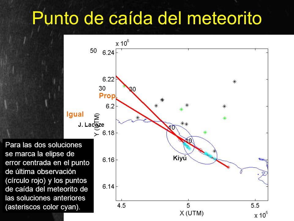 Punto de caída del meteorito