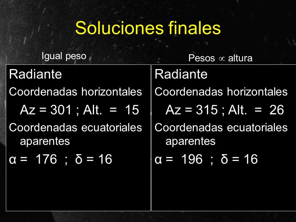 Soluciones finales Radiante Az = 301 ; Alt. = 15 α = 176 ; δ = 16