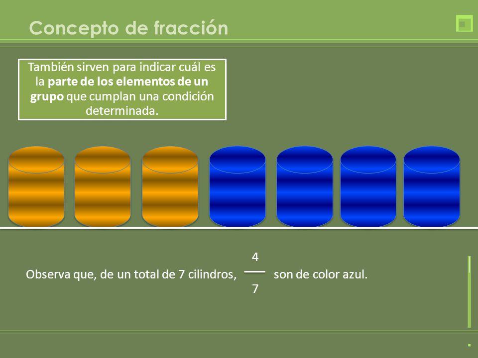 Concepto de fracciónTambién sirven para indicar cuál es la parte de los elementos de un grupo que cumplan una condición determinada.