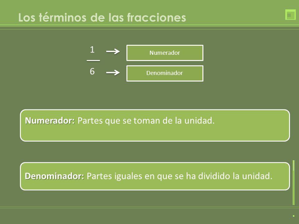 Los términos de las fracciones