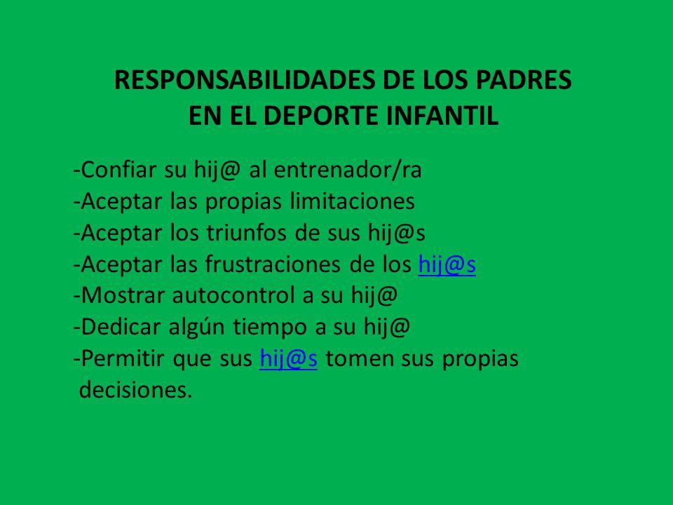 RESPONSABILIDADES DE LOS PADRES EN EL DEPORTE INFANTIL
