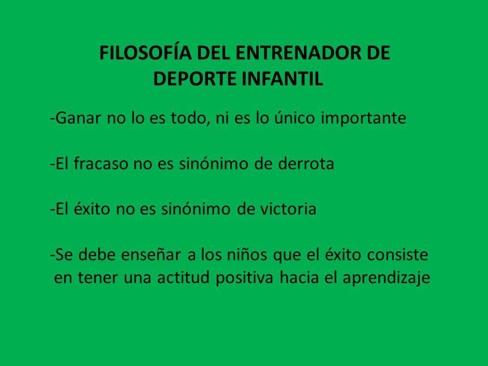 FILOSOFÍA DEL ENTRENADOR DE DEPORTE INFANTIL