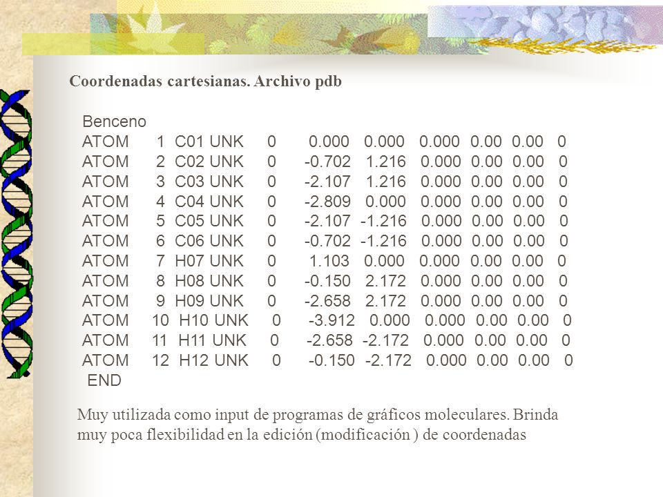 Coordenadas cartesianas. Archivo pdb