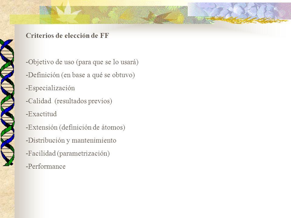 Criterios de elección de FF