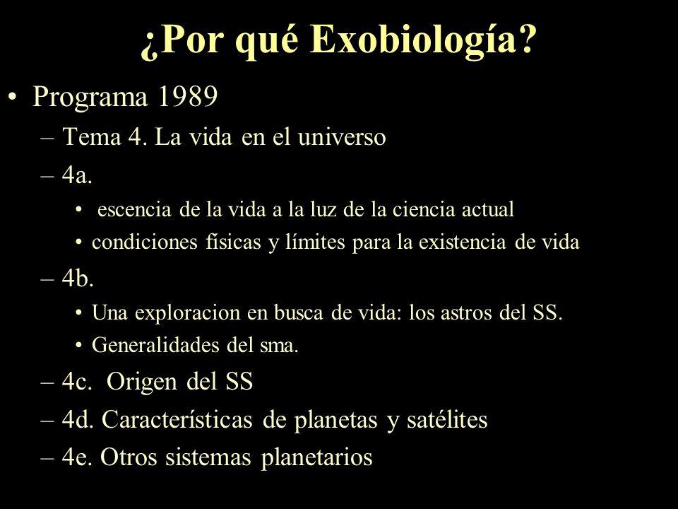 ¿Por qué Exobiología Programa 1989 Tema 4. La vida en el universo 4a.