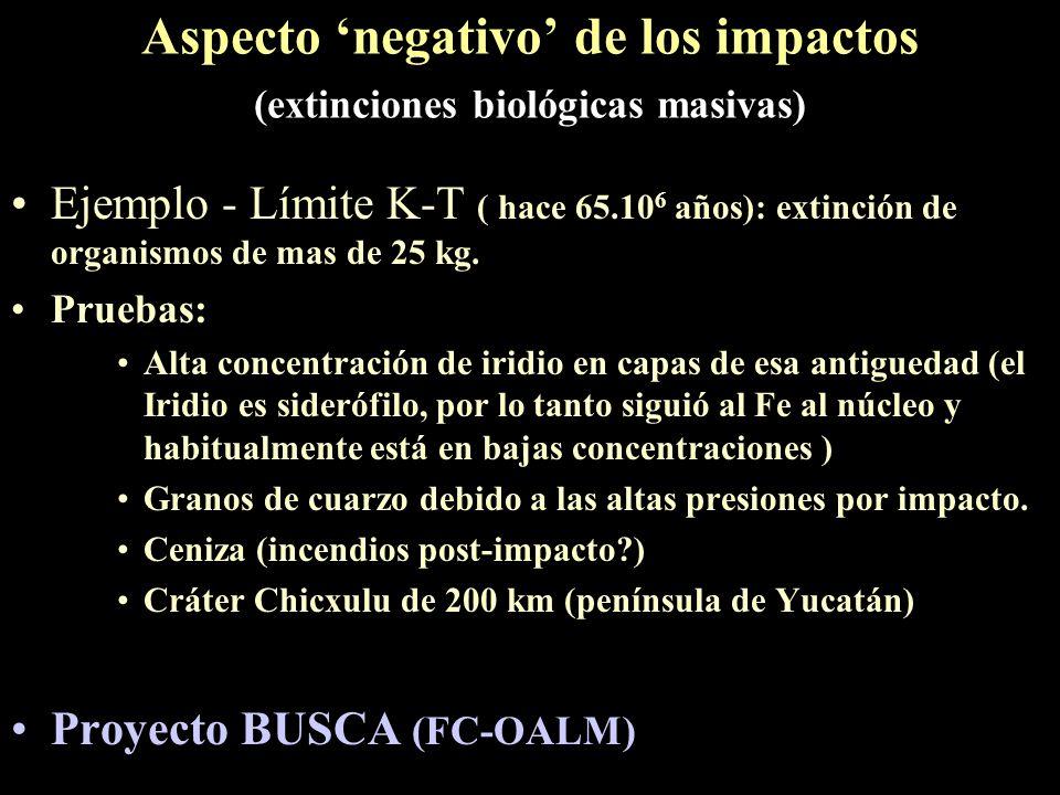 Aspecto 'negativo' de los impactos (extinciones biológicas masivas)