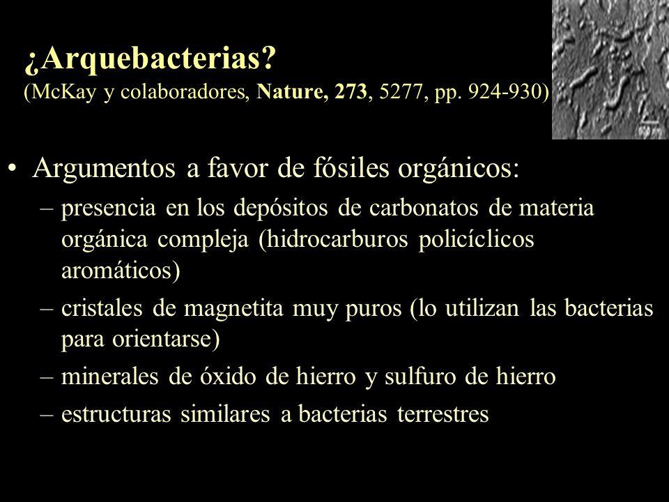 ¿Arquebacterias. (McKay y colaboradores, Nature, 273, 5277, pp
