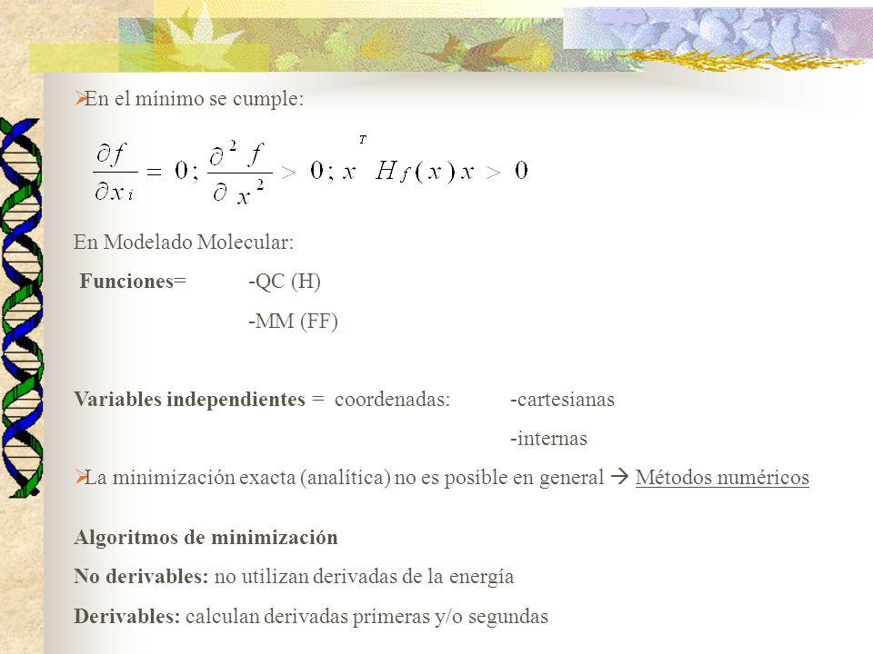 En Modelado Molecular: Funciones= -QC (H) -MM (FF)
