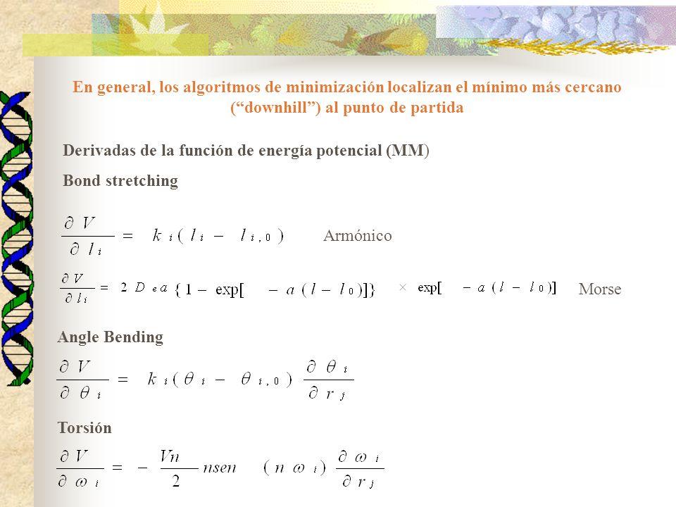 Derivadas de la función de energía potencial (MM) Bond stretching