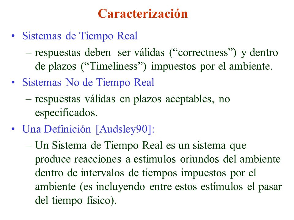 Caracterización Sistemas de Tiempo Real