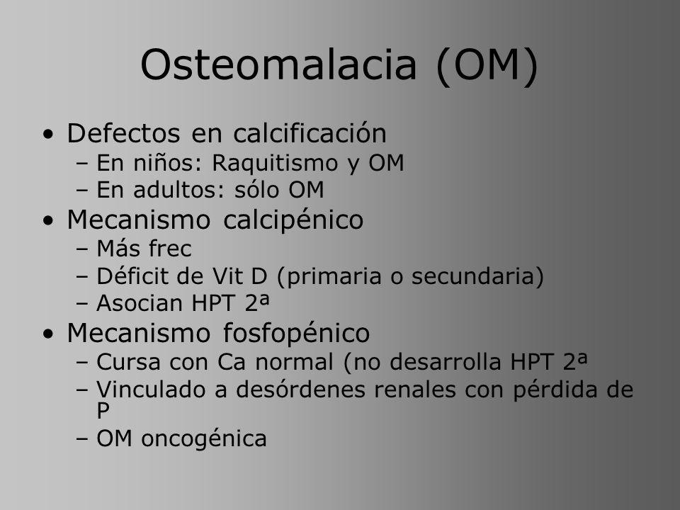 Osteomalacia (OM) Defectos en calcificación Mecanismo calcipénico