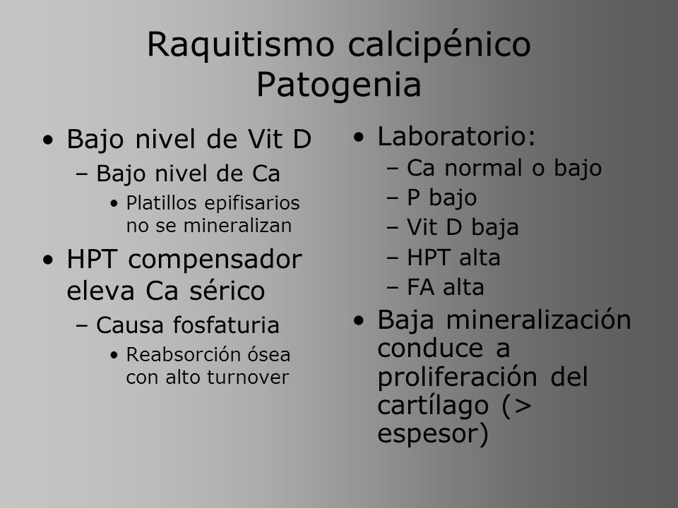Raquitismo calcipénico Patogenia