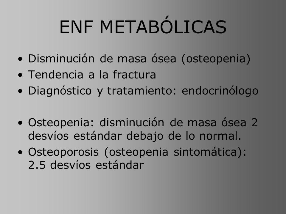 ENF METABÓLICAS Disminución de masa ósea (osteopenia)