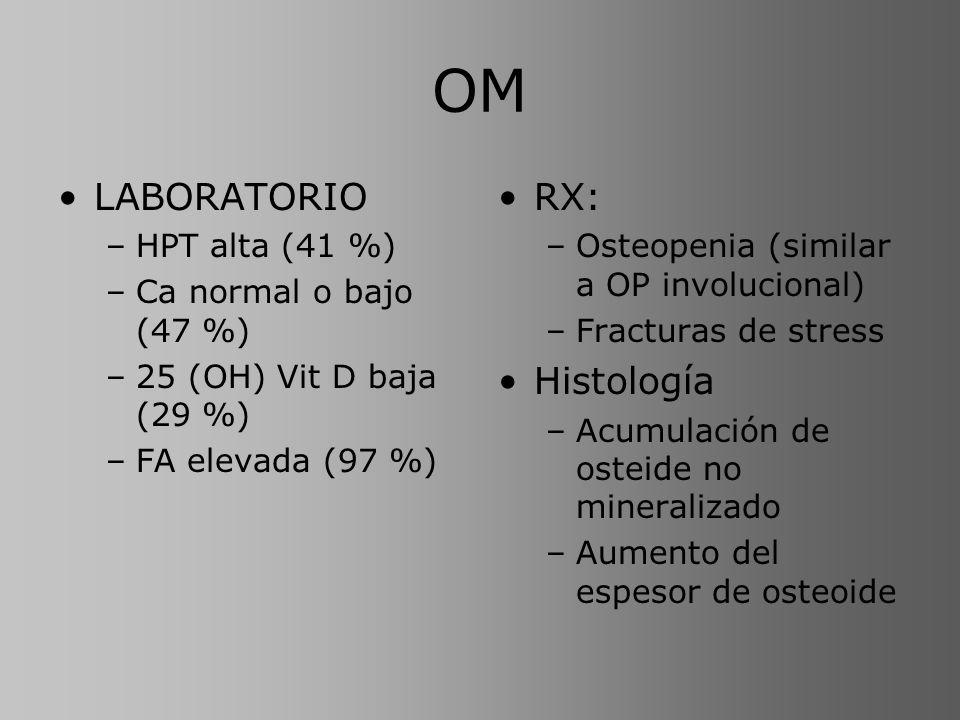 OM LABORATORIO RX: Histología HPT alta (41 %) Ca normal o bajo (47 %)
