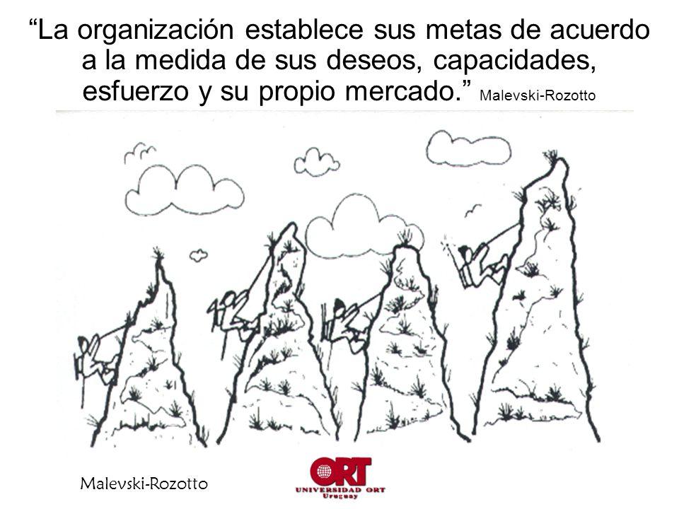 La organización establece sus metas de acuerdo a la medida de sus deseos, capacidades, esfuerzo y su propio mercado. Malevski-Rozotto