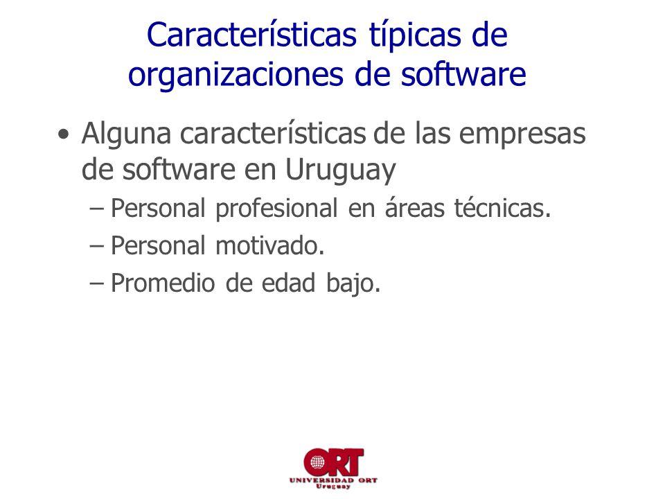 Características típicas de organizaciones de software