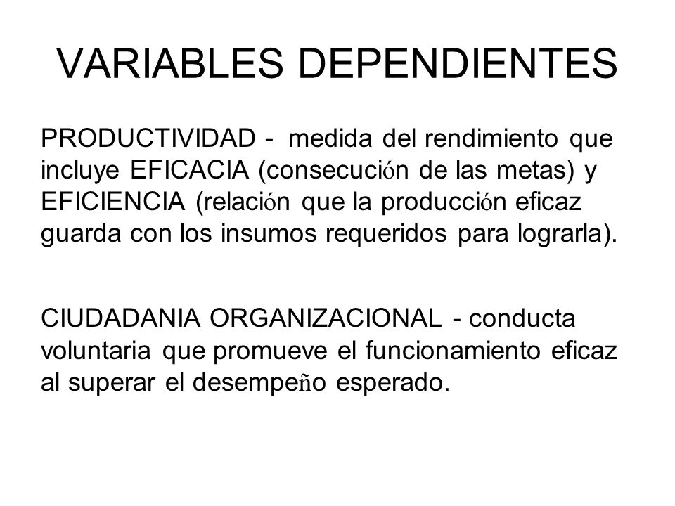 VARIABLES DEPENDIENTES
