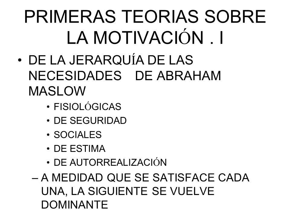 PRIMERAS TEORIAS SOBRE LA MOTIVACIÓN . I