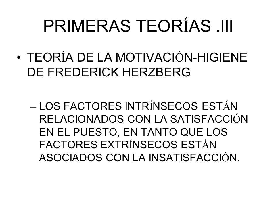 PRIMERAS TEORÍAS .III TEORÍA DE LA MOTIVACIÓN-HIGIENE DE FREDERICK HERZBERG.