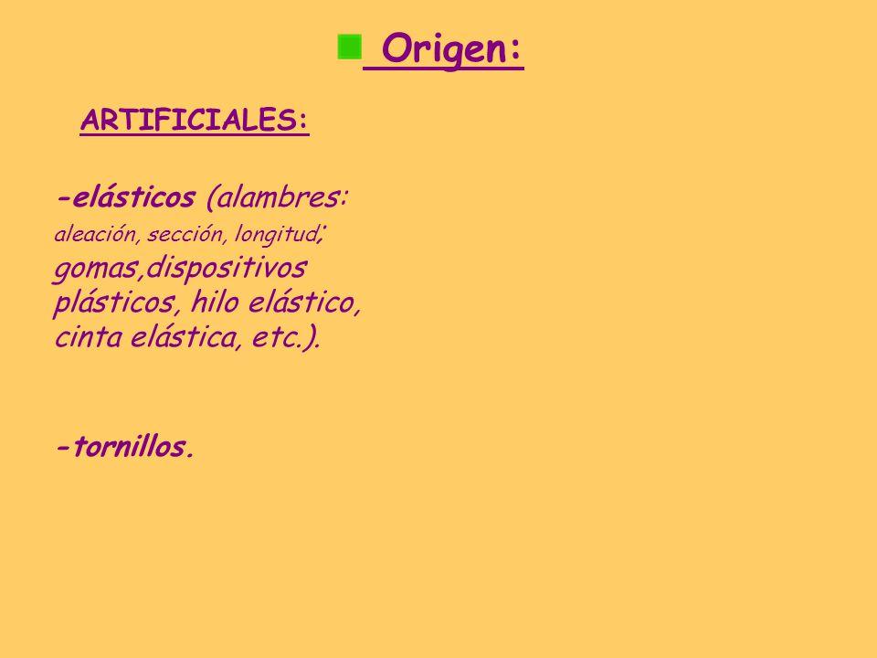 Origen: ARTIFICIALES: