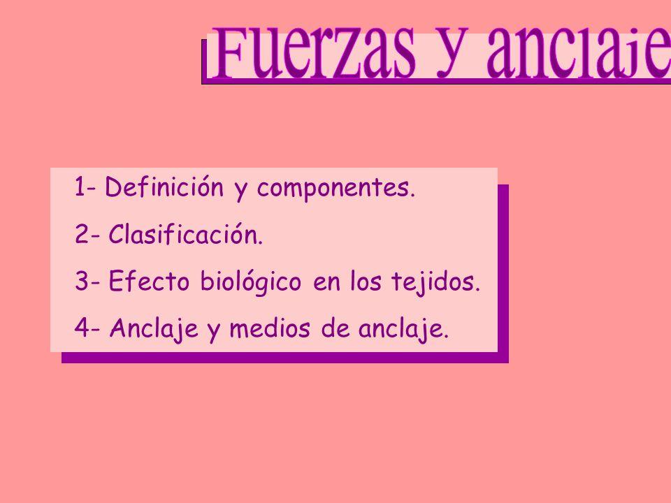 Fuerzas y anclaje 1- Definición y componentes. 2- Clasificación.
