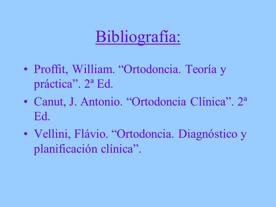 Bibliografía: Proffit, William. Ortodoncia. Teoría y práctica . 2ª Ed. Canut, J. Antonio. Ortodoncia Clínica . 2ª Ed.